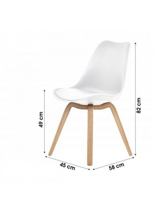 Chaise scandinave blanche avec coussin - Chaise scandinave